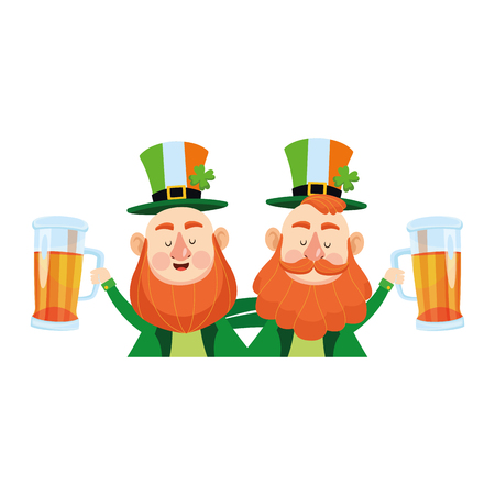 Saint patricks day funny elves with beers cartoons vector illustration graphic design
