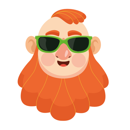 Irish man face with sunglasses red beard and hair face vector illustration graphic design