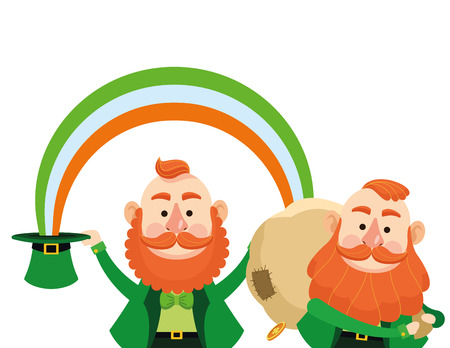 Saint patricks day elves holding money bag under rainbow cartoons vector illustration graphic design Illustration