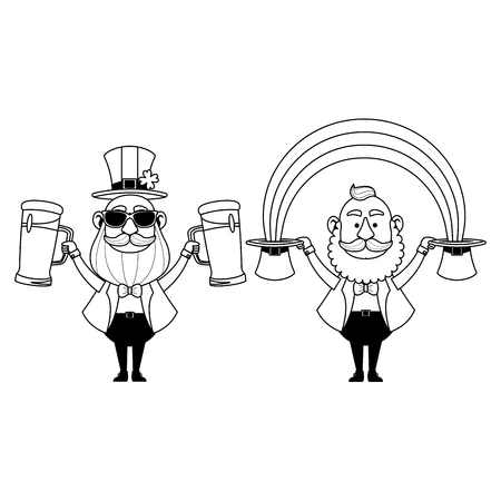 St patricks day elves drinking beers and holding hats with rainbow cartoons vector illustration graphic design