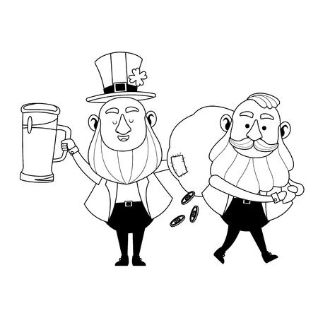 St patricks day elves drinking beer and holding money bag cartoons vector illustration graphic design Illustration