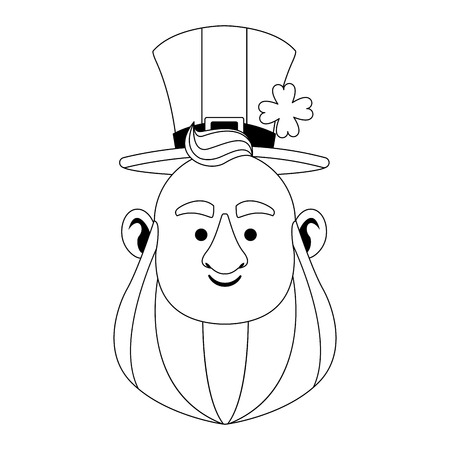 St patricks day elf face with hat cartoon vector illustration graphic design Illustration