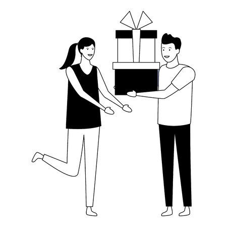 young couple with presents cartoon vector illustration graphic design