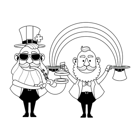 St patricks day elves playing trumpet under rainbow cartoons vector illustration graphic design