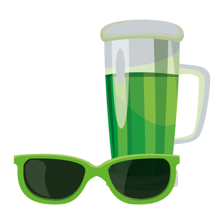 Saint patricks day with sunglasses and beer cup cartoons vector illustration graphic design