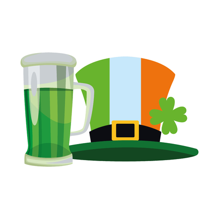 Saint patricks day hat and beer cup cartoons vector illustration graphic design