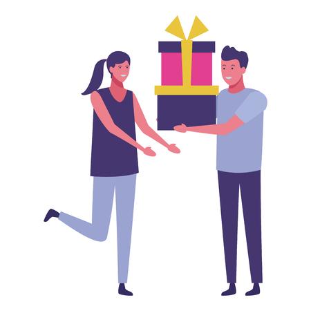 young couple with presents cartoon vector illustration graphic design Ilustración de vector