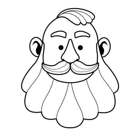 Irish man face red beard and hair face vector illustration graphic design