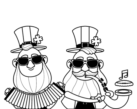 Saint patricks day elves playing trumpet and accordion cartoons vector illustration graphic design Illustration