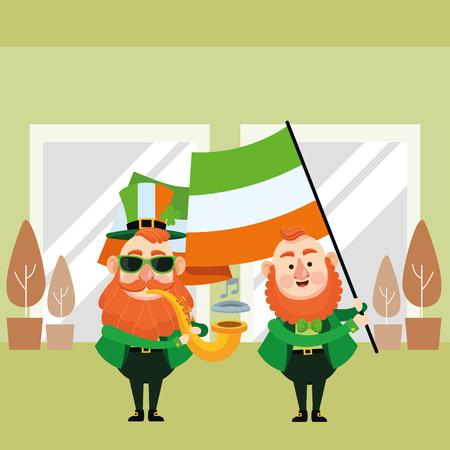 St patricks day elves playing trumper and holding ireland flag cartoons inside building office vector illustration graphic design Illustration