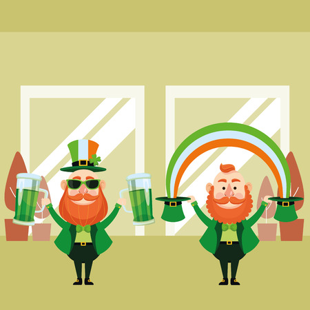St patricks day elves drinking beers and holding hats with rainbow cartoons inside building office vector illustration graphic design