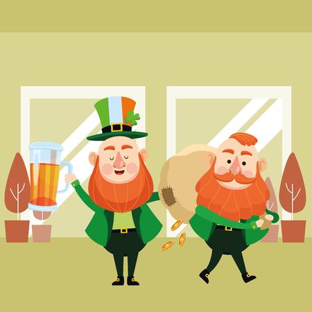 St patricks day elves drinking beer and holding money bag cartoons inside building office vector illustration graphic design