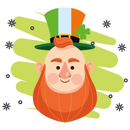 St patricks day elf face with hat cartoon office vector illustration graphic design Illustration