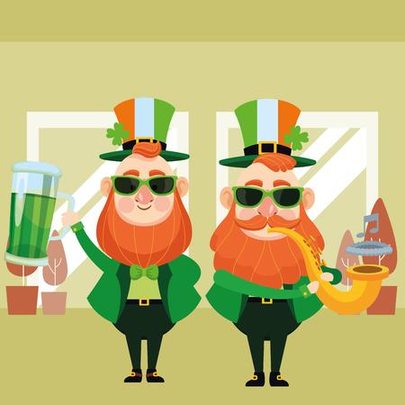 St patricks day elves drinking beer and trumpet cartoons inside building office vector illustration graphic design