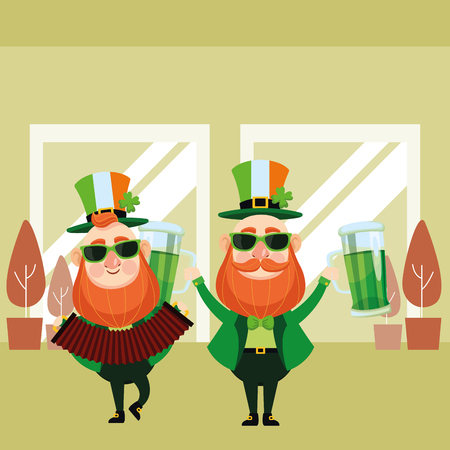 St patricks day elves playing accordion and drinking beers cartoons inside building office vector illustration graphic design Illustration