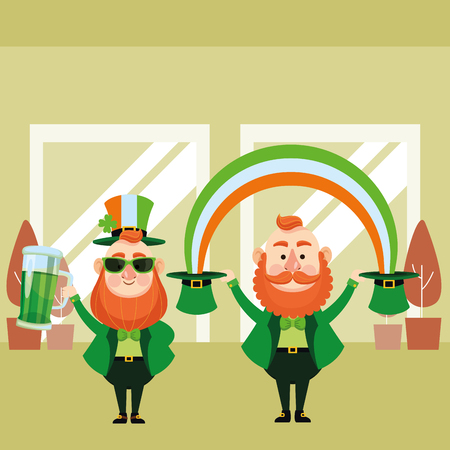St patricks day elves with beer and rainbow cartoons inside building office vector illustration graphic design