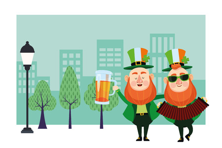 St patricks day elves drinking beer and playing accordion cartoons in the city park scenery vector illustration graphic design