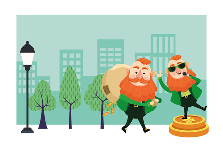 St patricks day elves singing and holding money bag cartoons in the city park scenery vector illustration graphic design