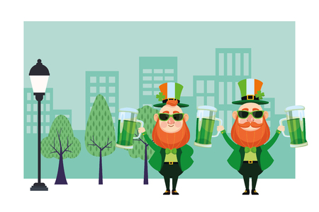 St patricks day elves with sunglasses and beers cartoons in the city park scenery vector illustration graphic design Illustration