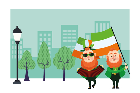 St patricks day elves playing accordion and holding ireland flag cartoons in the city park scenery vector illustration graphic design Illustration