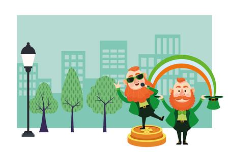 St patricks day elves singing on coins under rainbow artoons in the city park scenery vector illustration graphic design Illustration