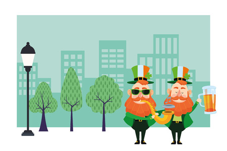 St patricks day elves with trumpet and beer cartoons in the city park scenery vector illustration graphic design