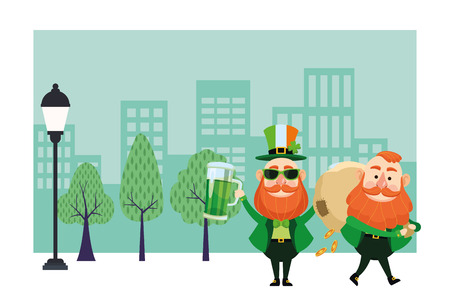 St patricks day elves with beer and money bag cartoons in the city park scenery vector illustration graphic design
