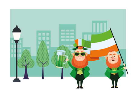 St patricks day elf in hat with flag cartoon in the city park scenery vector illustration graphic design Illustration