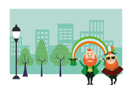 St patricks day elves with accordion and rainbow cartoons in the city park scenery vector illustration graphic design Illustration