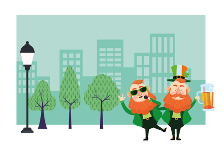 St patricks day elves singing and drinking beer cartoons in the city park scenery vector illustration graphic design Illustration