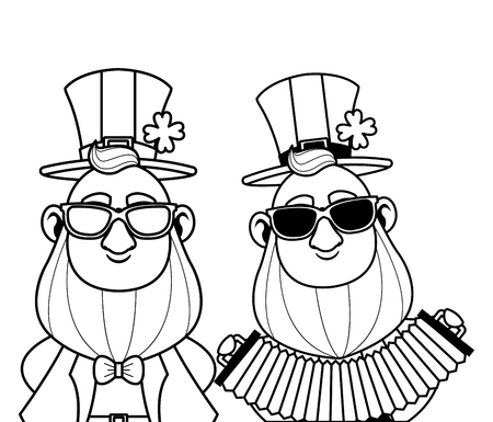 Saint patricks day elves playing accordion and sunglasses cartoons vector illustration graphic design