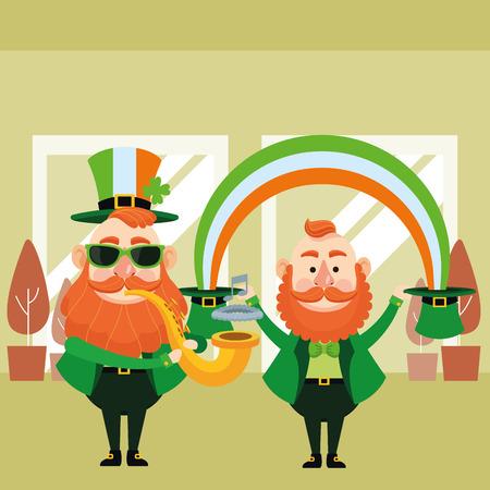 St patricks day elves playing trumpet under rainbow cartoons inside building office vector illustration graphic design