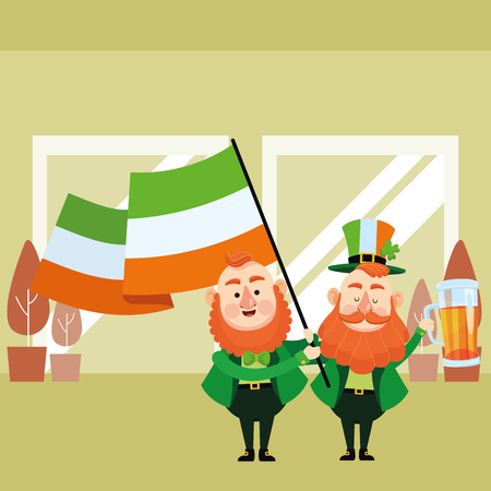 St patricks day elves with beer and ireland flag cartoons inside building office vector illustration graphic design
