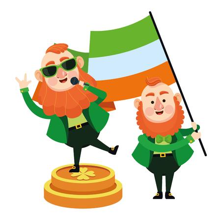 St patricks day elves singing and holding ireland flag cartoons vector illustration graphic design Illustration