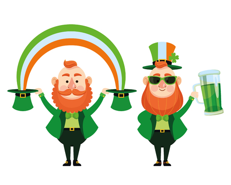 St patricks day elves with beer and rainbow cartoons vector illustration graphic design Illustration