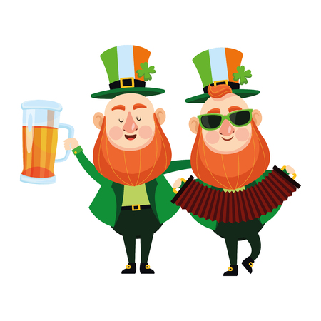 St patricks day elves drinking beer and playing accordion cartoons vector illustration graphic design