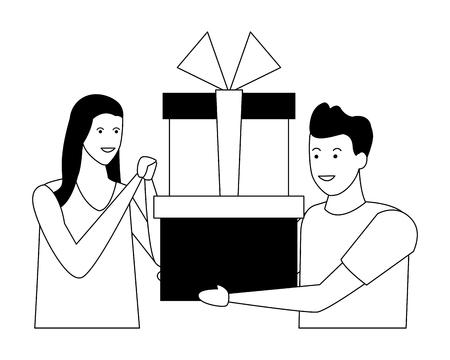 giovane coppia con regali fumetto illustrazione vettoriale graphic design