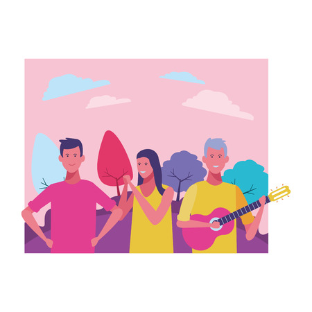 young couple listening man playing guitar cartoon vector illustration graphic design