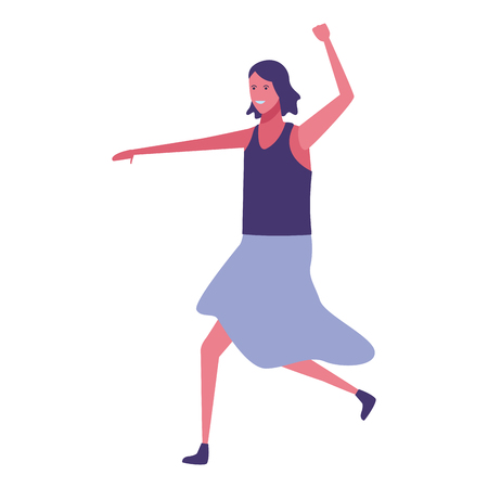 young woman body dancing cartoon vector illustration graphic design Illustration