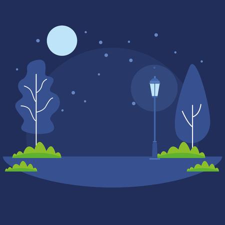 nature park landscape at night cartoon vector illustration graphic design