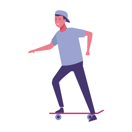 young man with skate cartoon vector illustration graphic design