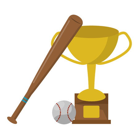 baseball bat trophy cup and ball vector illustration graphic design  イラスト・ベクター素材