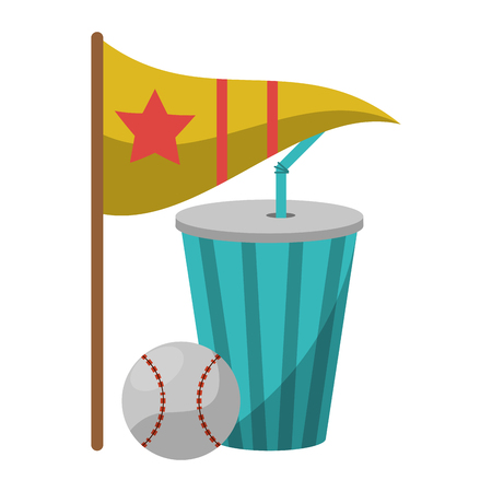 baseball ball soda cup and flag with star vector illustration graphic design  イラスト・ベクター素材