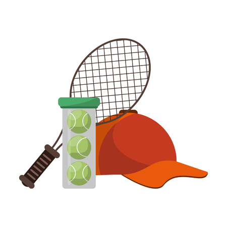 tennis racket balls and hat vector illustration graphic design