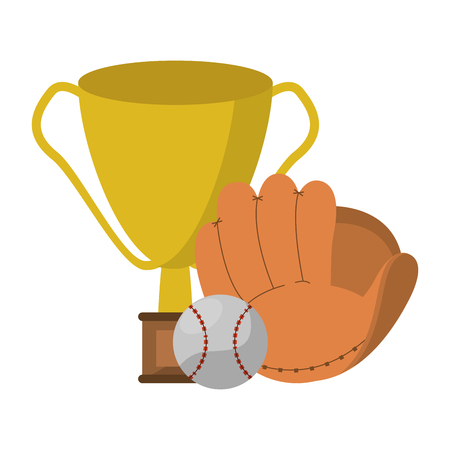 baseball trophy glove and ball vector illustration graphic design  イラスト・ベクター素材