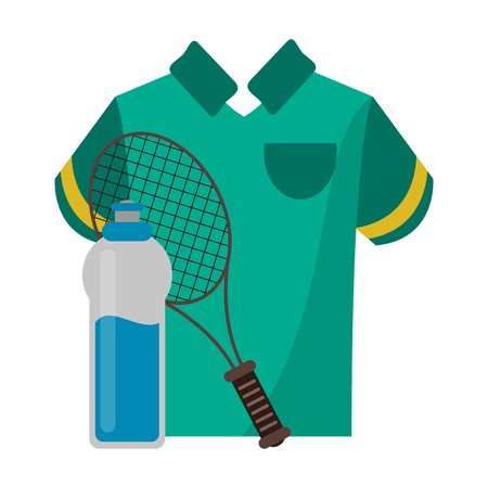 tennis racket with tshirt and water bottle vector illustration graphic design  イラスト・ベクター素材