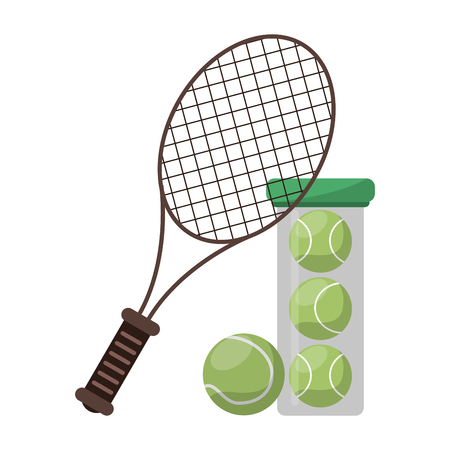 tennis racket and balls in bottle vector illustration graphic design