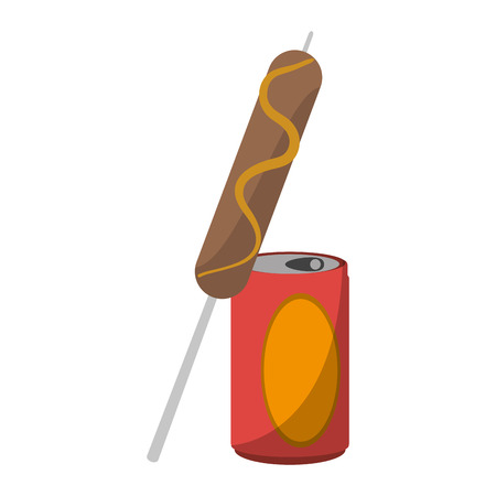 Sausage stick with soda cup symbol vector illustration graphic design