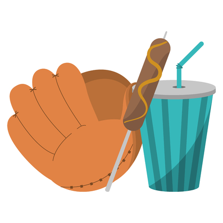 baseball leather glove with sausage stick and soda cup vector illustration graphic design