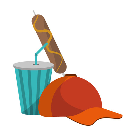 baseball hat soda cup and sausage stick vector illustration graphic design